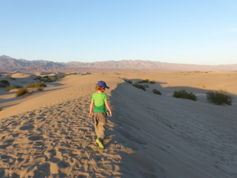 Kids on Dunes in Mojave Desert